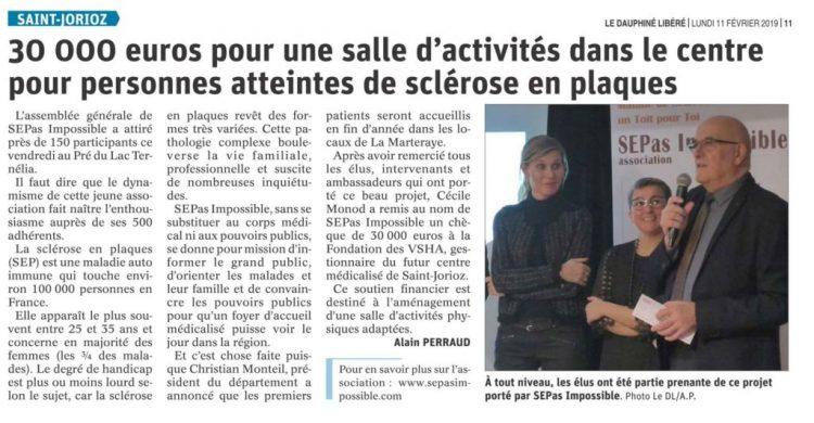 Le Dauphiné : 30 000 euros pour une salle d'activités dans le centre pour personnes atteintes de sclérose en plaques