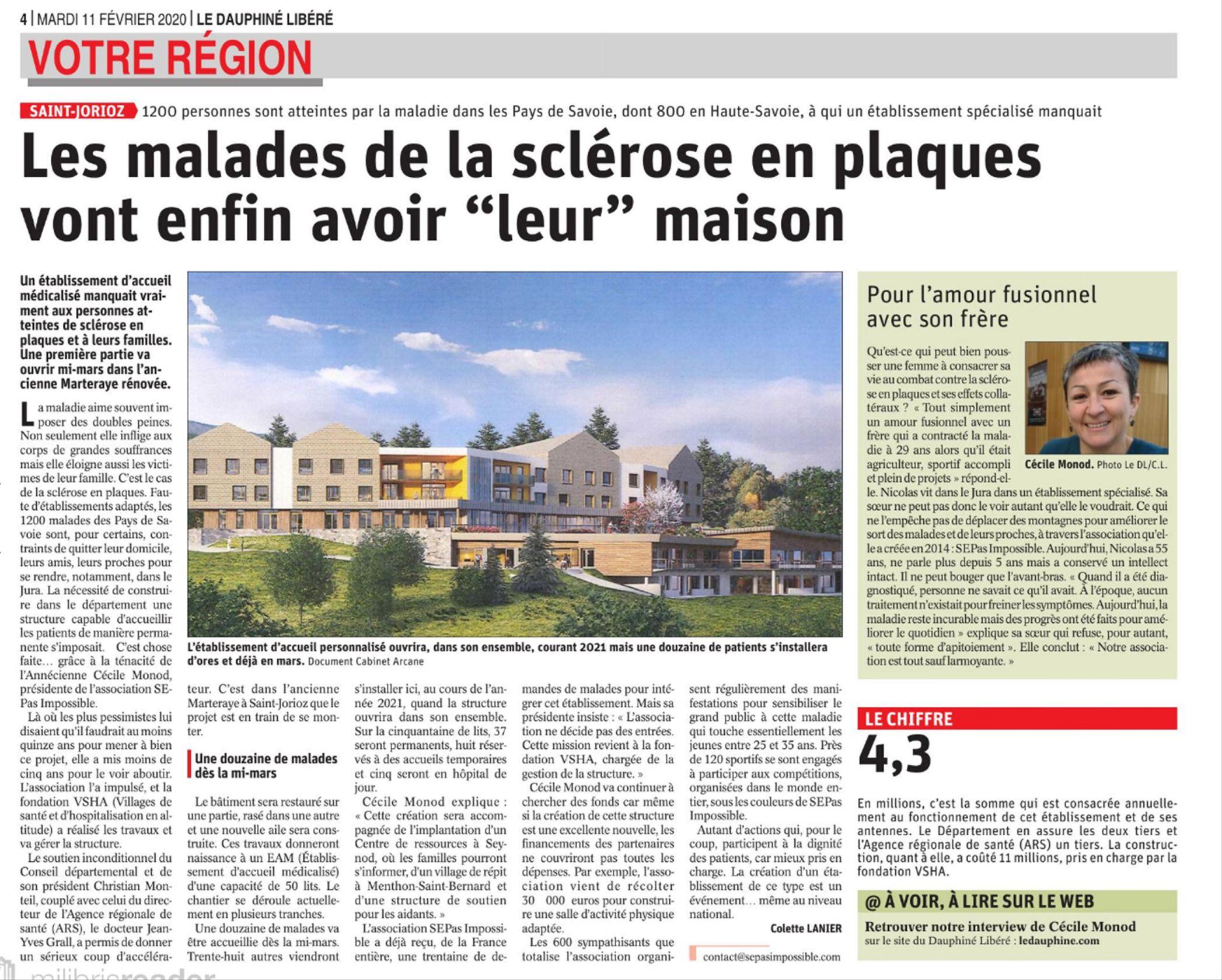 Le Dauphiné : Les malades de la Sclérose En Plaques vont enfin avoir «leur» maison