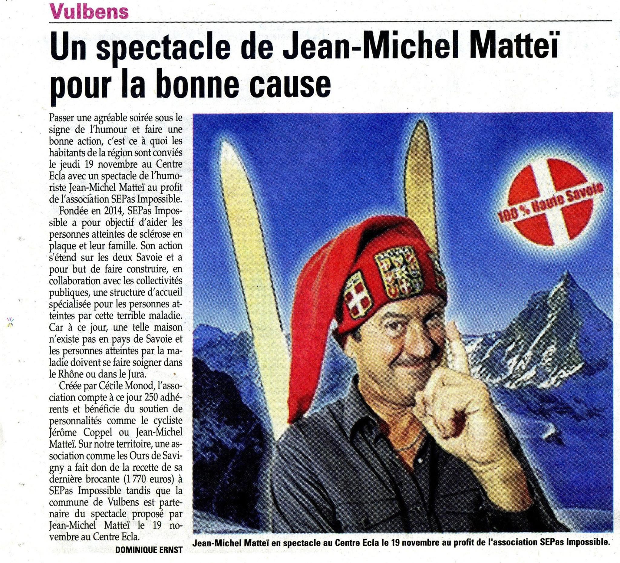 Le Dauphiné : Un spectacle de Jean-Michel Matteï pour la bonne cause