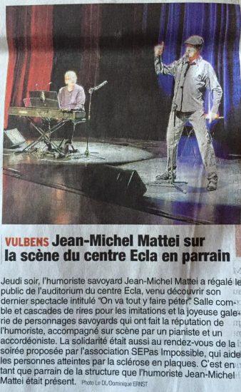Le Dauphiné : Jean-Michel Matteï sur la scène du centre Ecla en parrain
