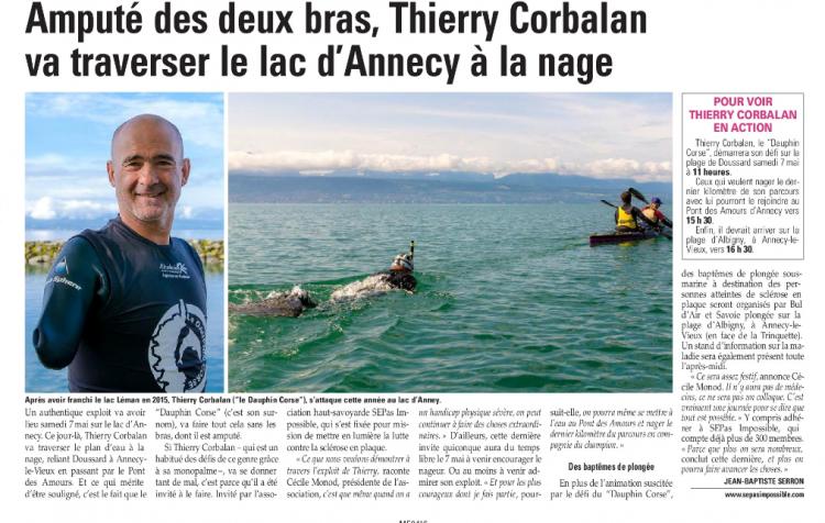L'Essor Savoyard : Amputé des deux bras, Thierry Corbalan va traverser le lac d'Annecy à la nage