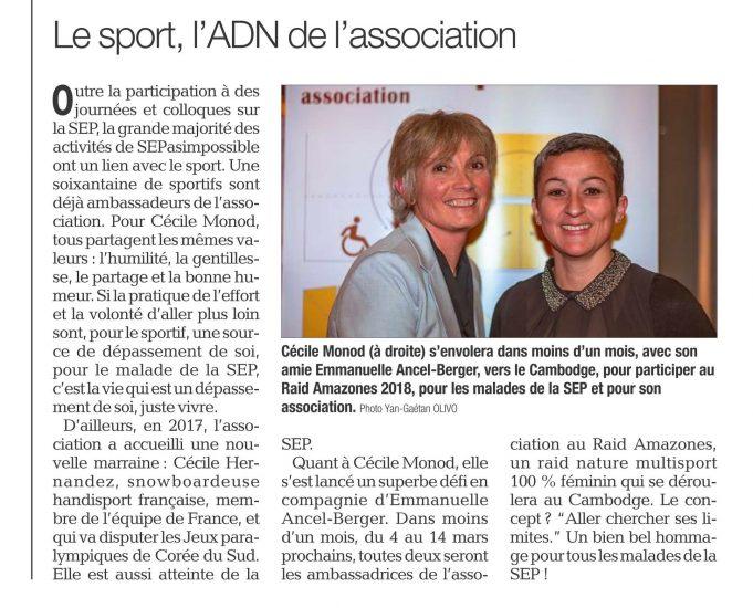 Le Dauphiné : Le sport, l'ADN de l'association