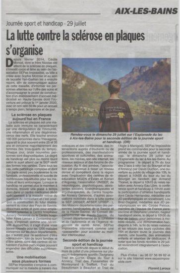 Hebdo des Savoie : La lutte contre la sclérose en plaques s'organise