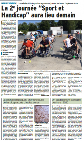Le Dauphiné : La 2e journée «Sport et Handicap» aura lieu demain