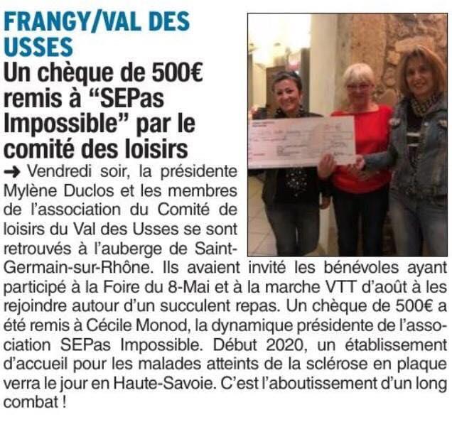 Le Dauphiné : Un chèque de 500€ remis à «SEPas Impossible» par le comité des loisirs