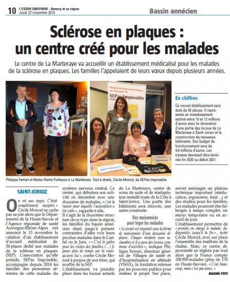 L'Essor Savoyard : Sclérose en plaques : un centre créé pour les malades