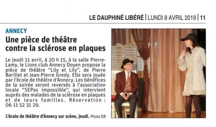 Le Dauphiné : Une pièce de théâtre contre la sclérose en plaques