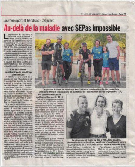 Hebdo des Savoie : Au-delà de la maladie avec SEPas Impossible