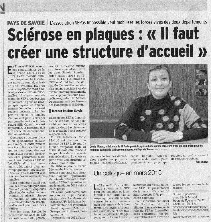 Le Dauphiné : Sclérose en plaques : «Il faut créer une structure d'accueil»