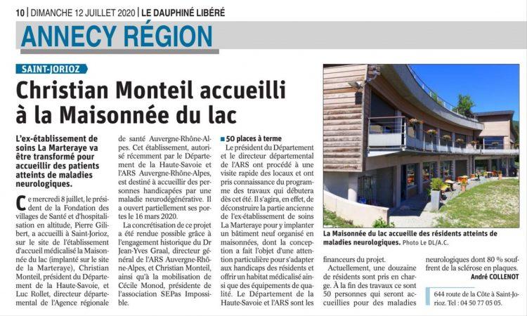Le Dauphiné : Christian Monteil accueilli à la Maisonnée du lac
